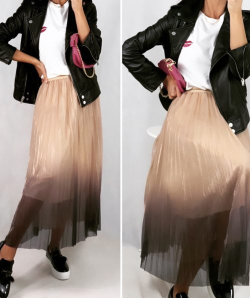 Falda midi plisada de color rosa con degradé ultravioleta